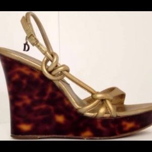 Genuine Dior gold Tortoise colored wedge heels